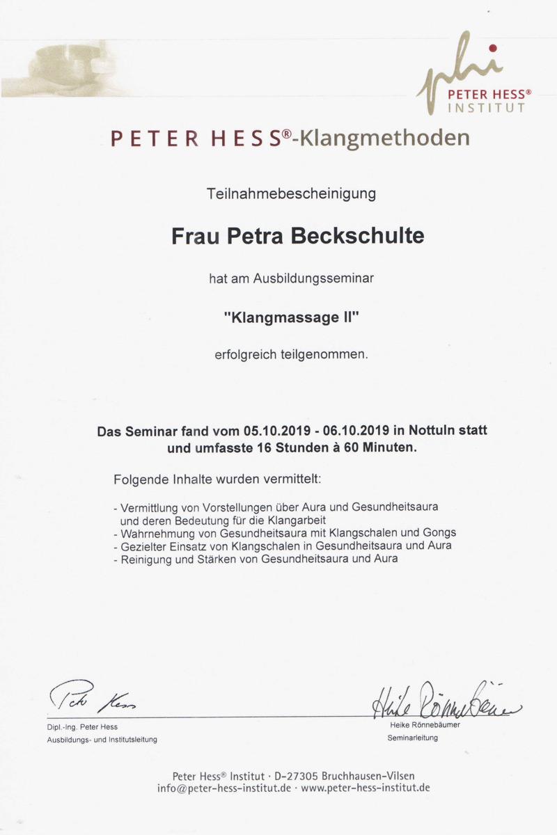 Klangmassage Zertifikat II
